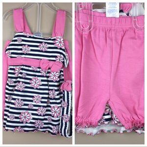 Other - Sweet 3Pc pink striped shorts set ruffles Headband